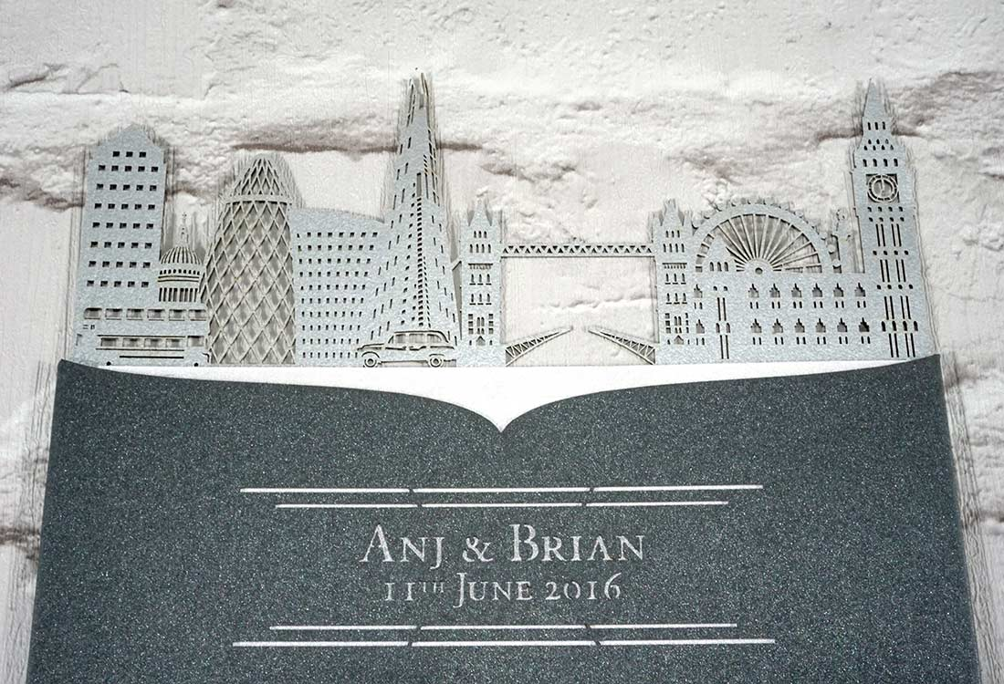 london skyline intricate creations With laser cut wedding invitations london